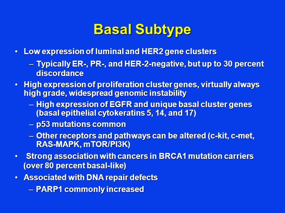 Basal Subtype Low expression of luminal and HER2 gene clusters