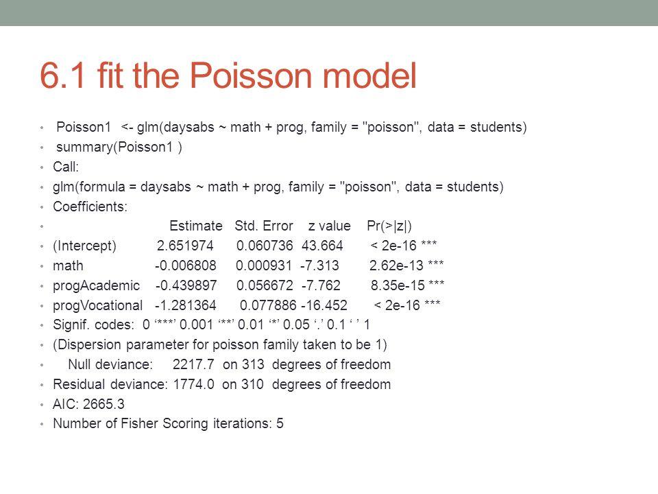 6.1 fit the Poisson model Poisson1 <- glm(daysabs ~ math + prog, family = poisson , data = students)