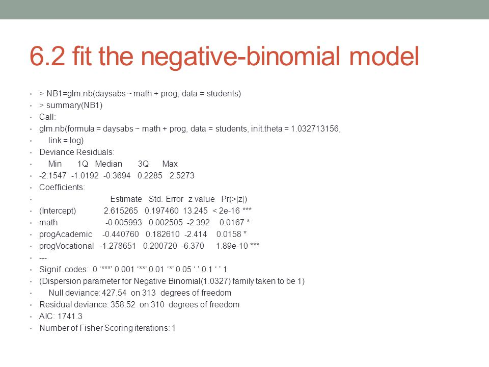 6.2 fit the negative-binomial model