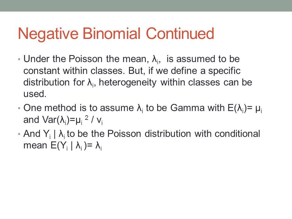 Negative Binomial Continued