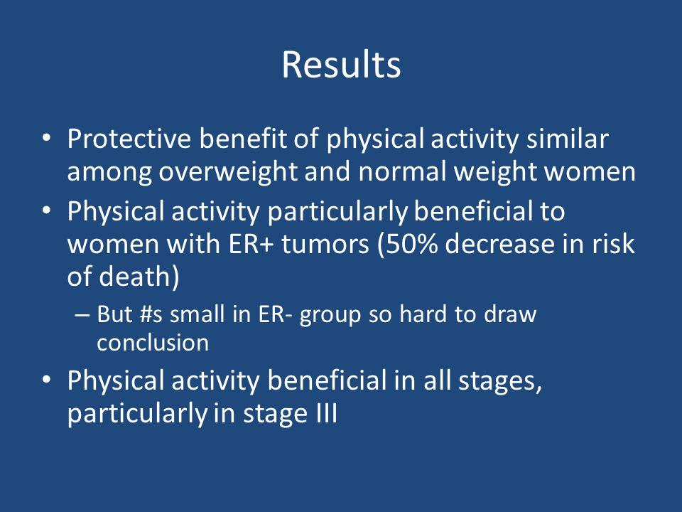 Results Protective benefit of physical activity similar among overweight and normal weight women.