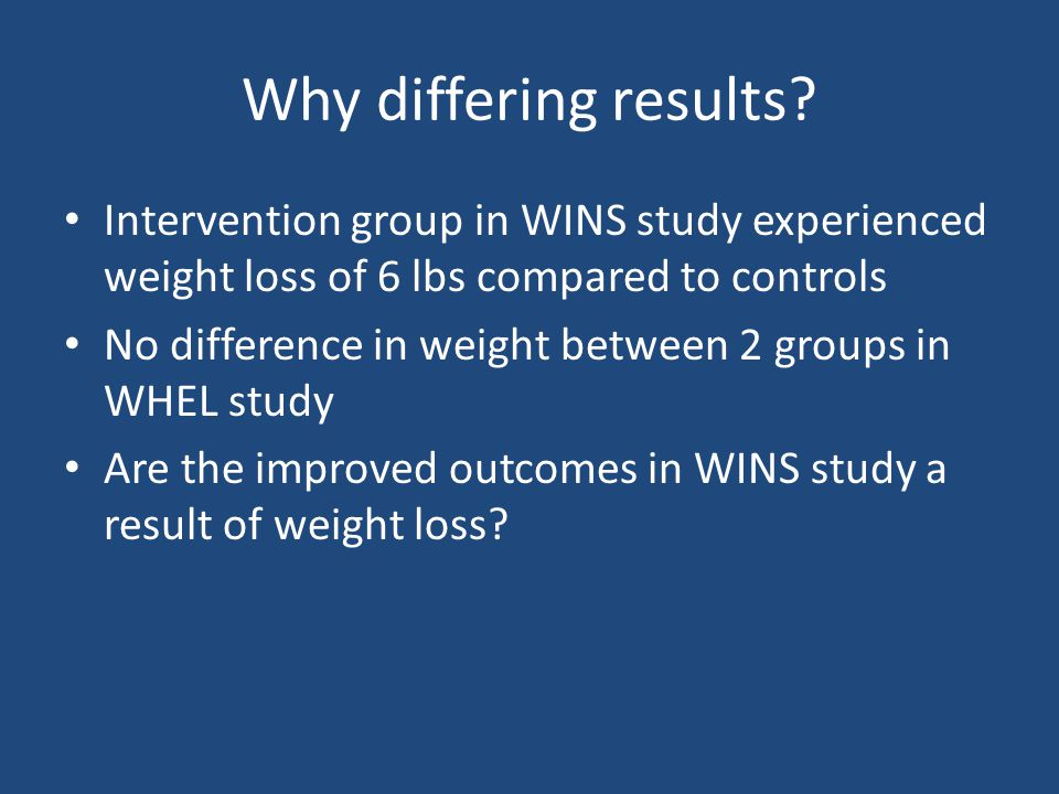 Why differing results Intervention group in WINS study experienced weight loss of 6 lbs compared to controls.