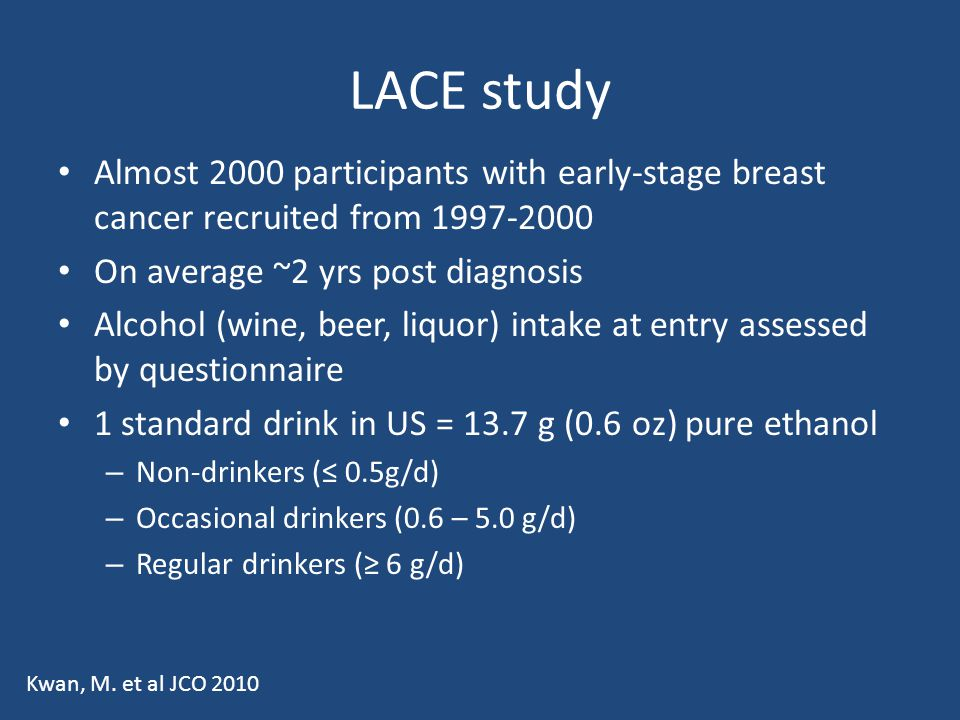 LACE study Almost 2000 participants with early-stage breast cancer recruited from 1997-2000. On average ~2 yrs post diagnosis.