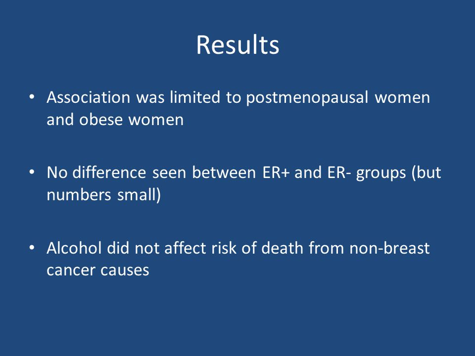 Results Association was limited to postmenopausal women and obese women. No difference seen between ER+ and ER- groups (but numbers small)