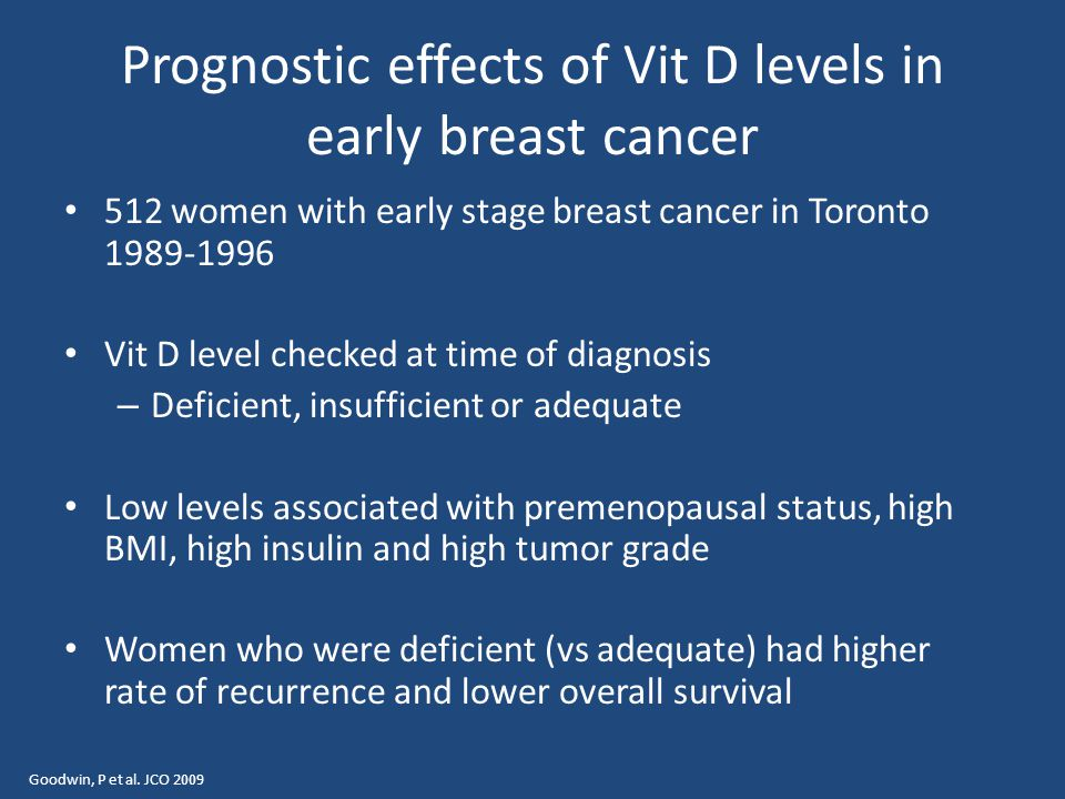 Prognostic effects of Vit D levels in early breast cancer