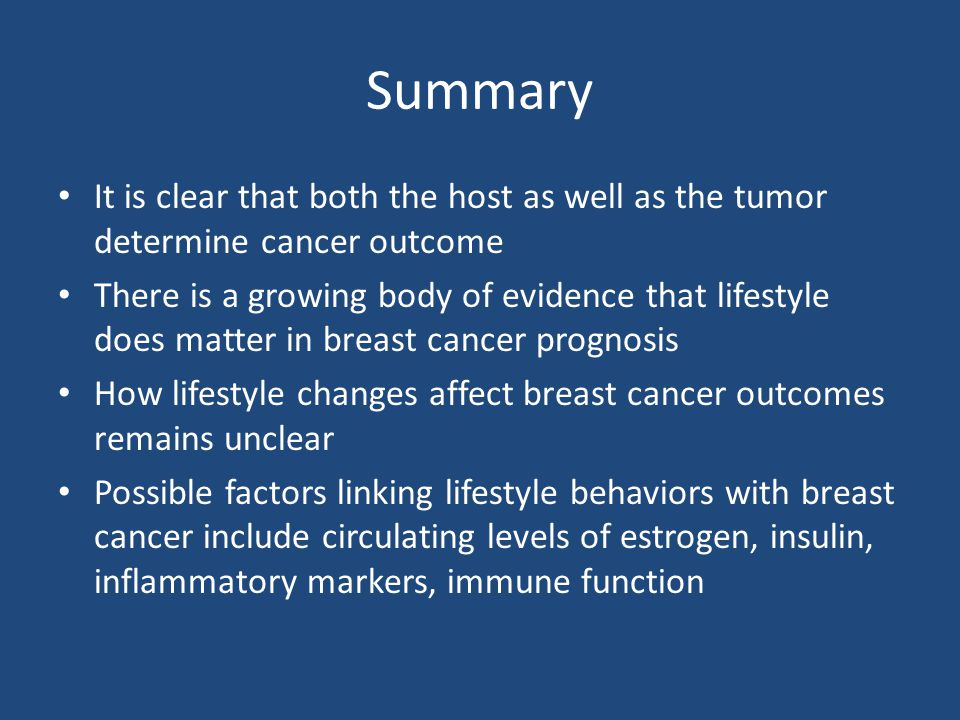 Summary It is clear that both the host as well as the tumor determine cancer outcome.