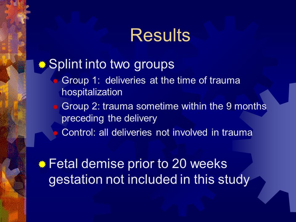 Results Splint into two groups