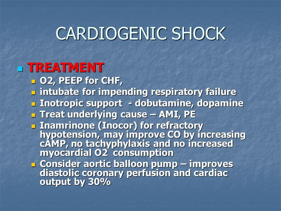 CARDIOGENIC SHOCK TREATMENT O2, PEEP for CHF,