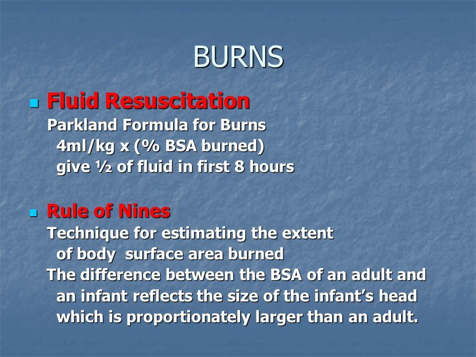 BURNS Fluid Resuscitation Rule of Nines Parkland Formula for Burns