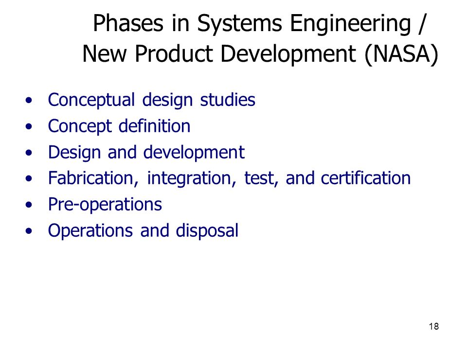 Phases in Systems Engineering / New Product Development (NASA)