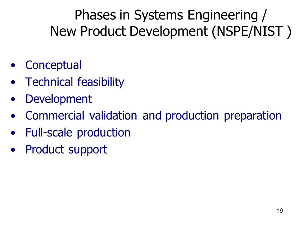 Phases in Systems Engineering / New Product Development (NSPE/NIST )