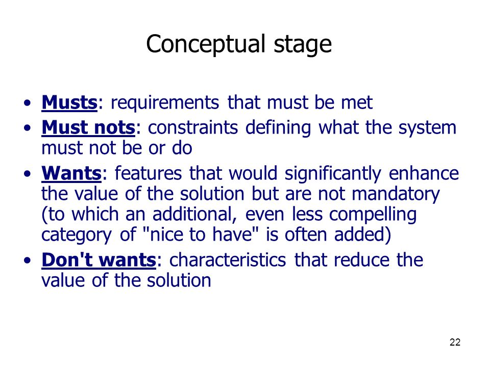 Conceptual stage Musts: requirements that must be met