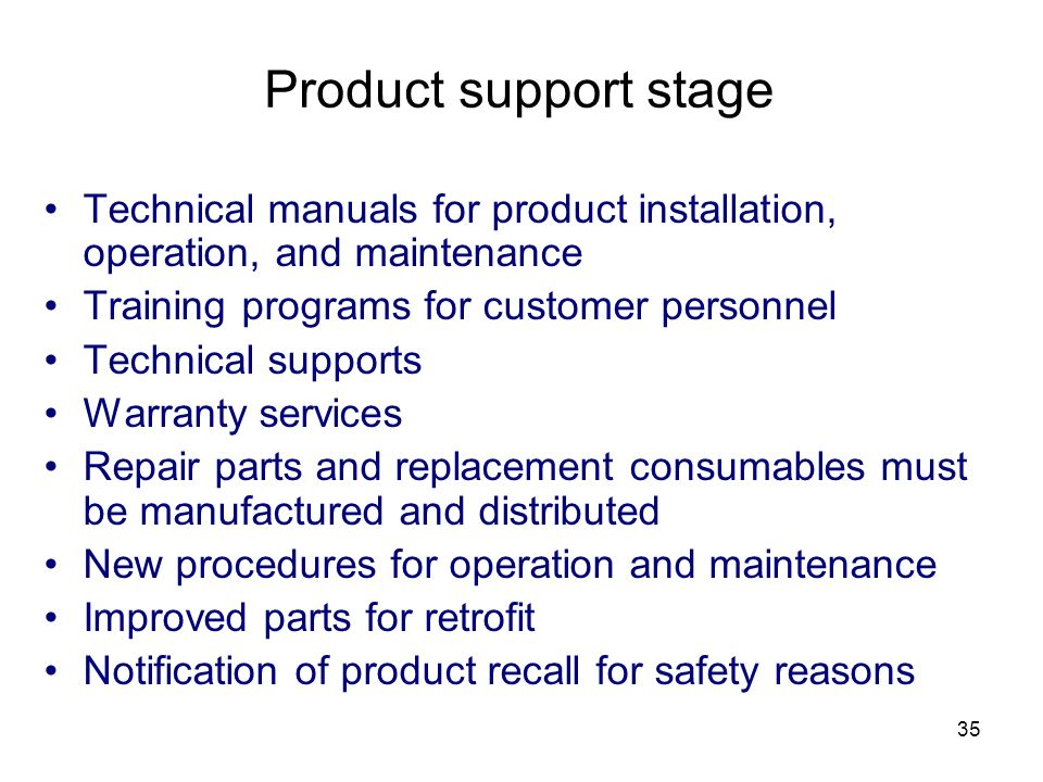 Product support stage Technical manuals for product installation, operation, and maintenance. Training programs for customer personnel.