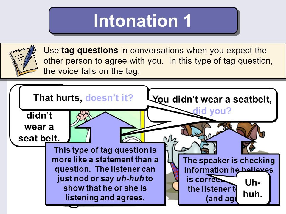 Intonation 1 You're right. I didn't wear a seat belt.