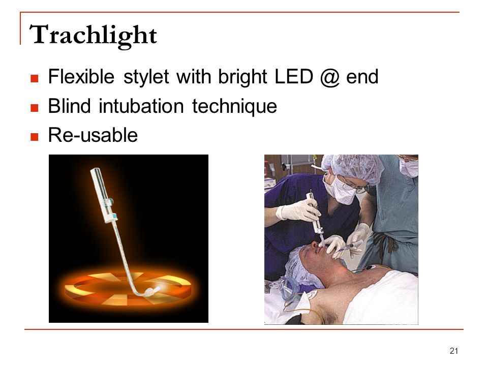 Trachlight Flexible stylet with bright end