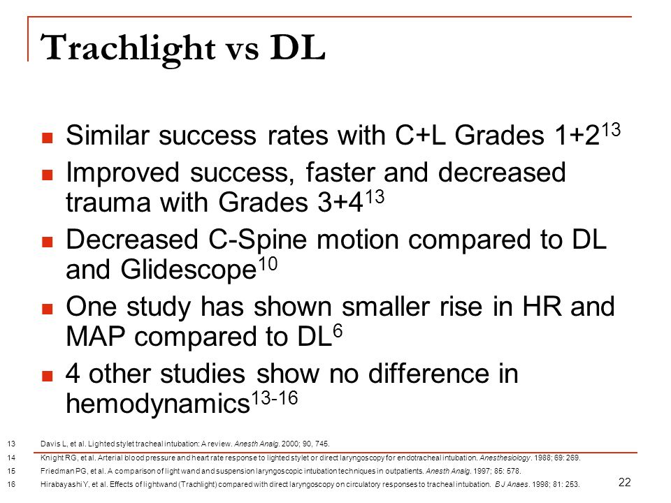 Trachlight vs DL Similar success rates with C+L Grades 1+213
