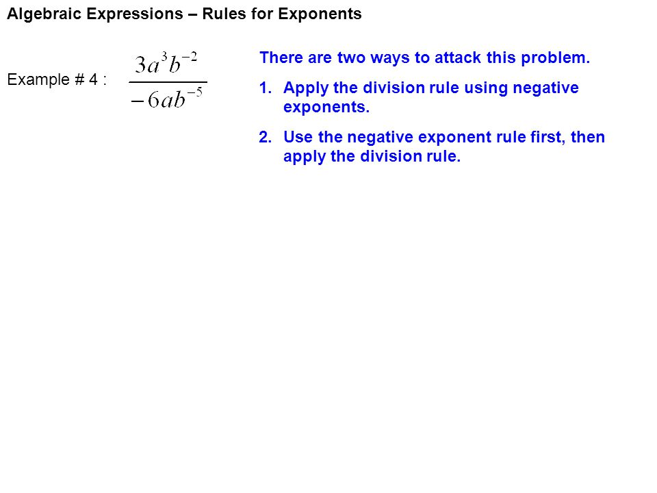 Algebraic Expressions – Rules for Exponents
