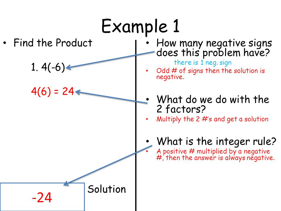 Example 1 -24 Find the Product 1. 4(-6) 4(6) = 24 Solution