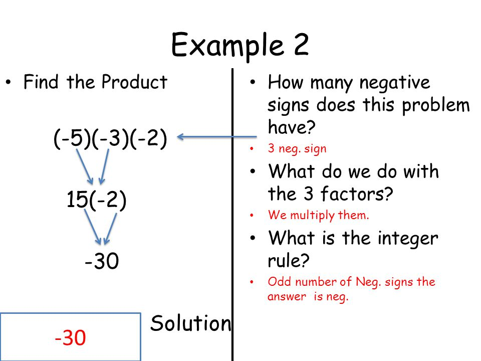 Example (-5)(-3)(-2) 15(-2) -30 Solution Find the Product