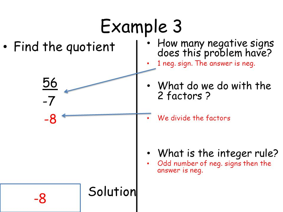 Example 3 -8 Find the quotient 56 -7 -8 Solution