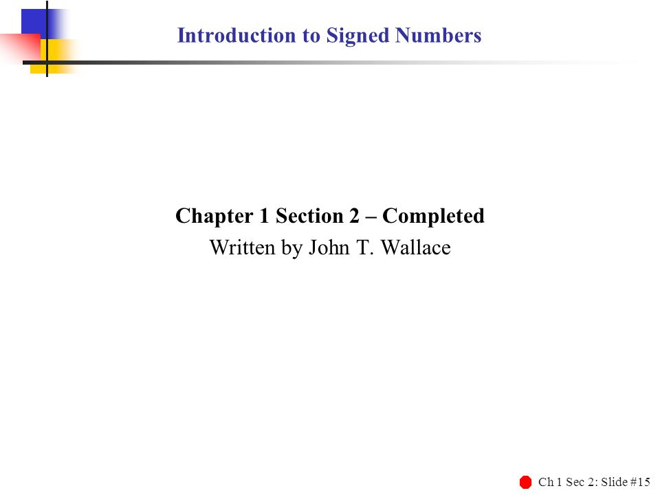 Introduction to Signed Numbers