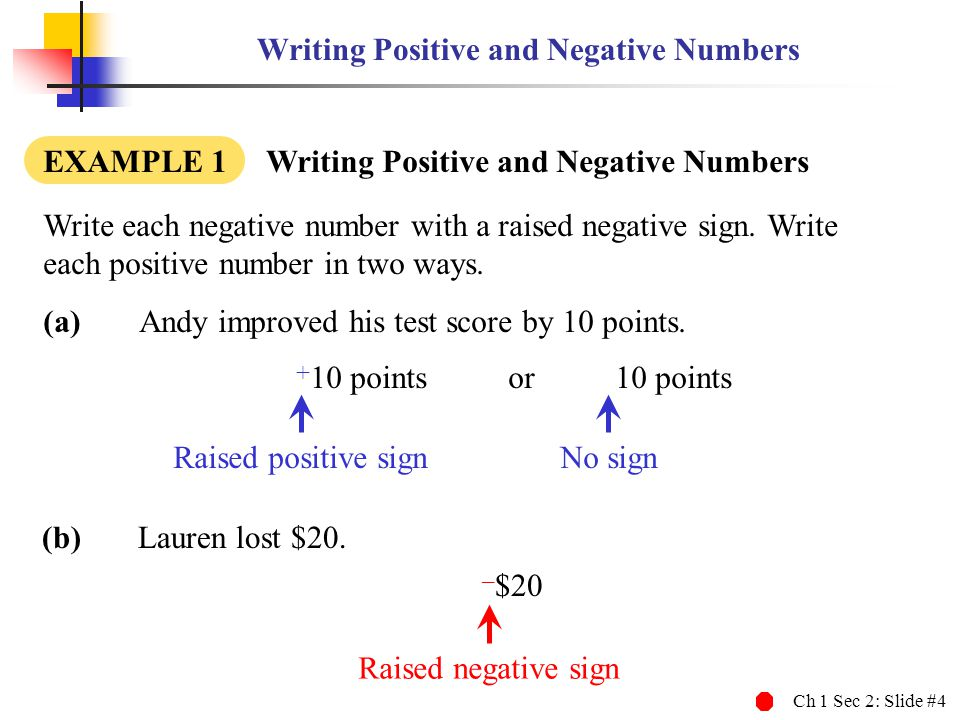 Writing Positive and Negative Numbers