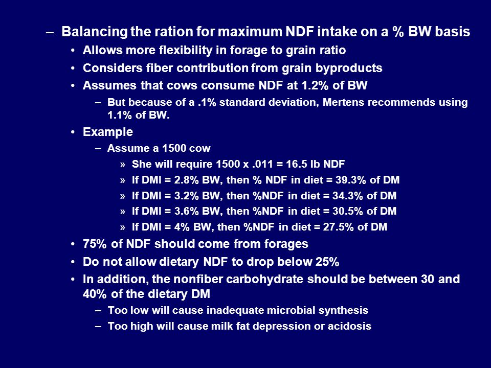Balancing the ration for maximum NDF intake on a % BW basis