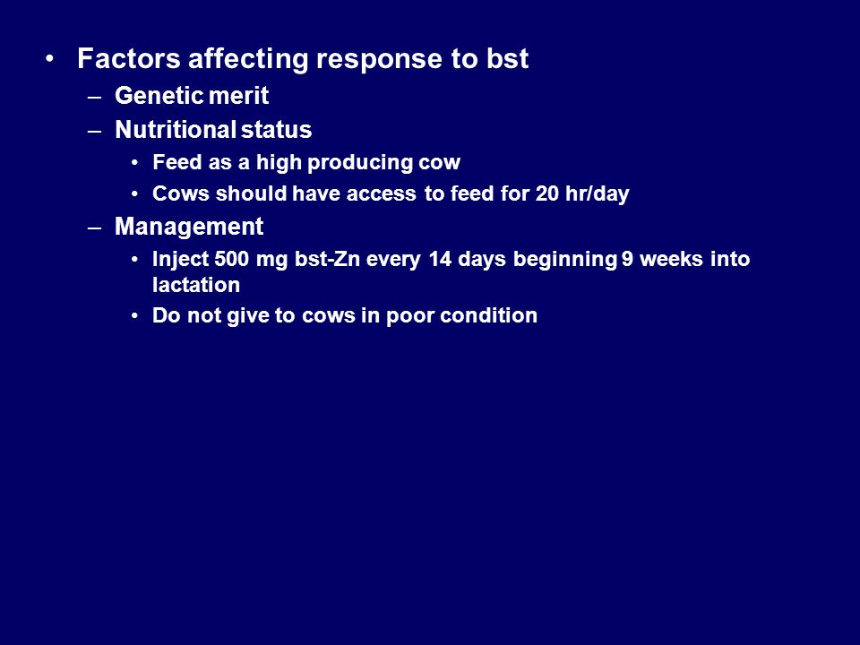 Factors affecting response to bst