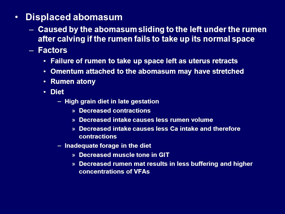 Displaced abomasum Caused by the abomasum sliding to the left under the rumen after calving if the rumen fails to take up its normal space.
