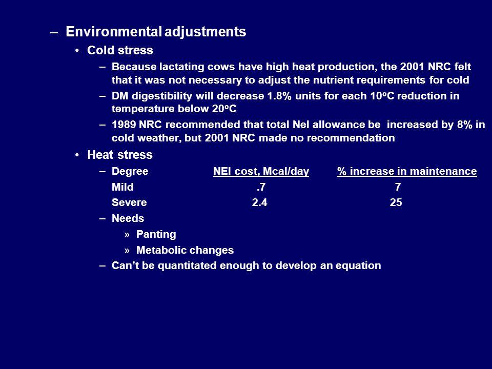 Environmental adjustments