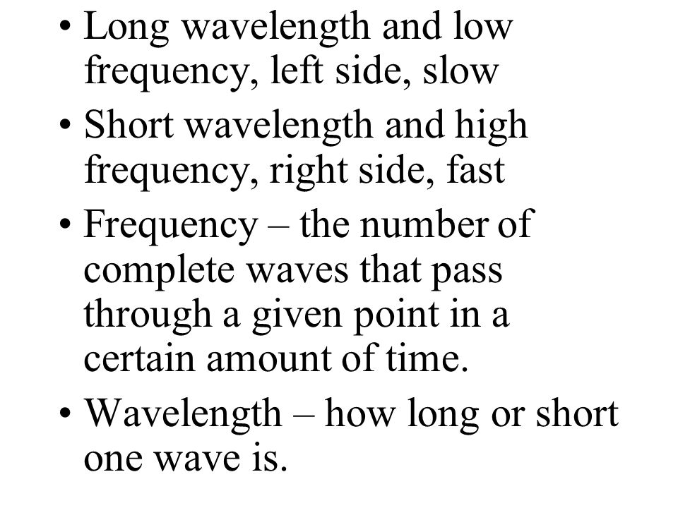 Long wavelength and low frequency, left side, slow