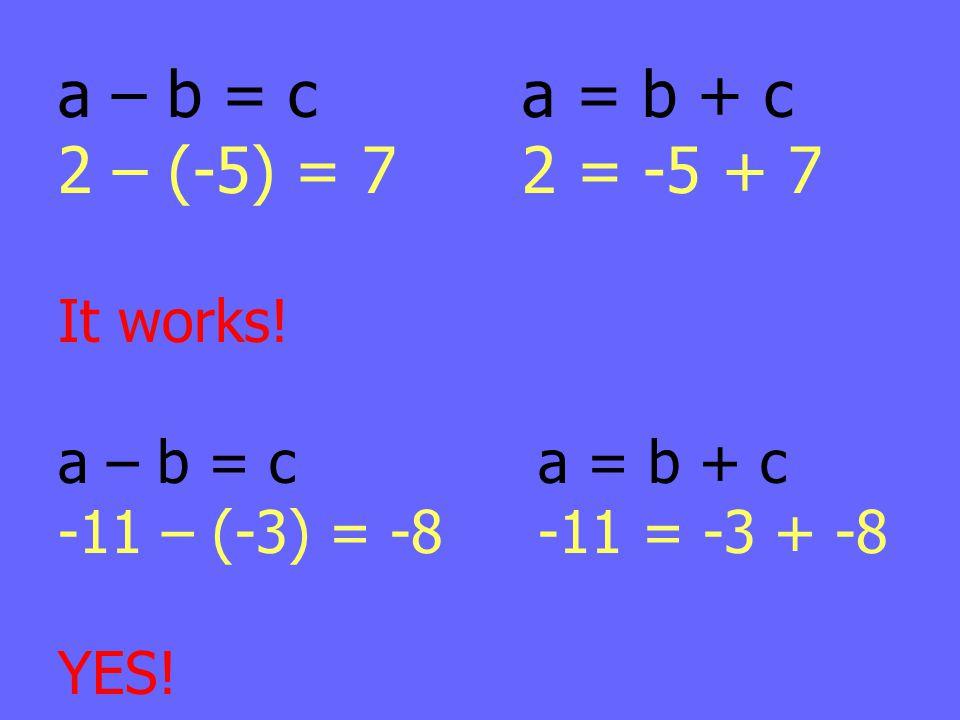 a – b = c a = b + c 2 – (-5) = 7 2 = -5 + 7 It works!