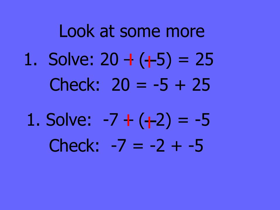 Look at some more 1. Solve: 20 – ( 5) = 25. Check: 20 = -5 + 25.