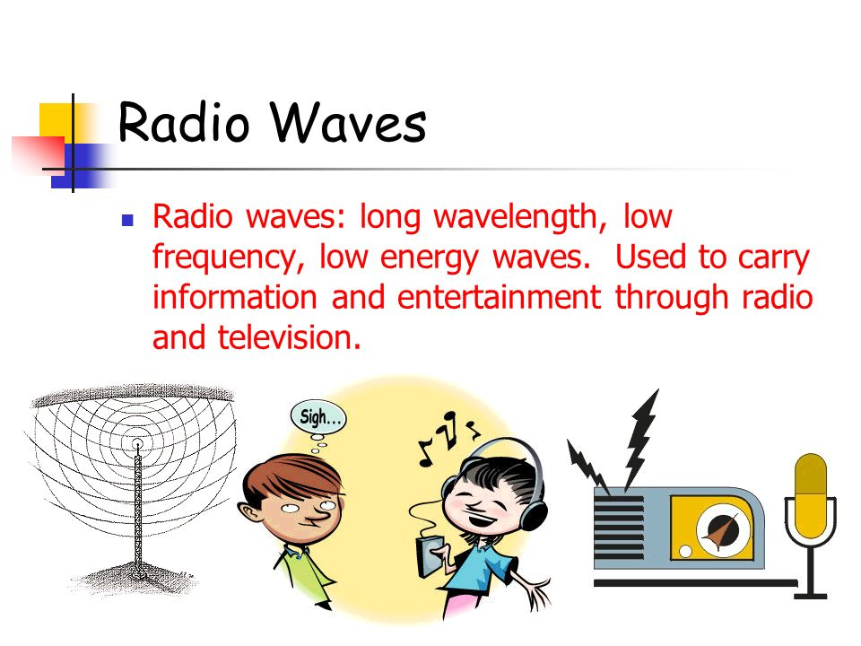 Radio Waves Radio waves: long wavelength, low frequency, low energy waves.