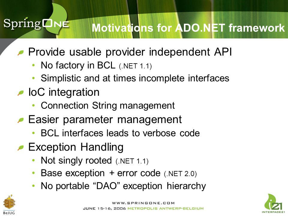Motivations for ADO.NET framework