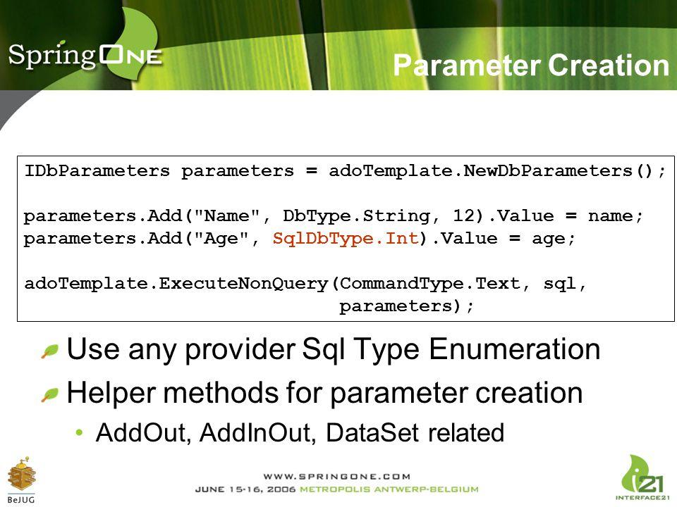 Use any provider Sql Type Enumeration