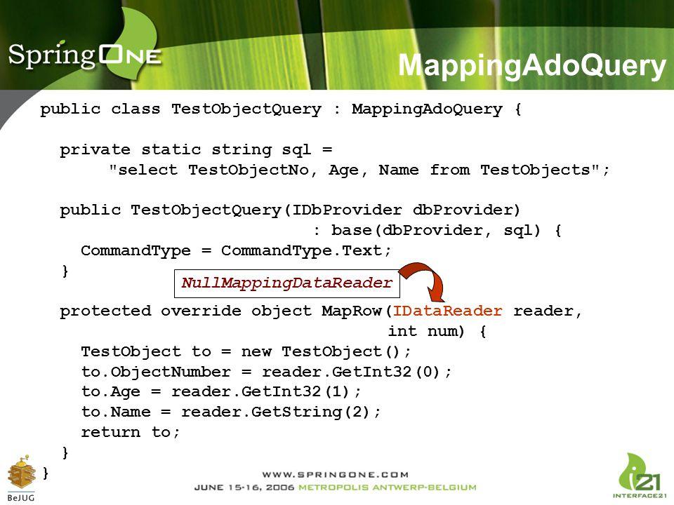 MappingAdoQuery public class TestObjectQuery : MappingAdoQuery {