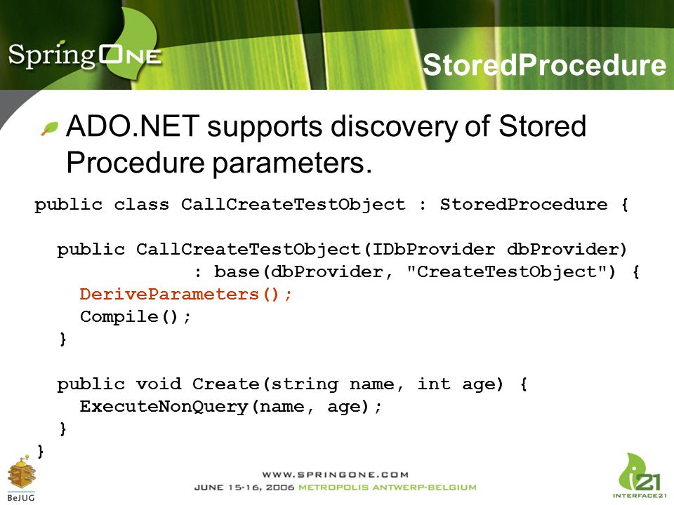ADO.NET supports discovery of Stored Procedure parameters.