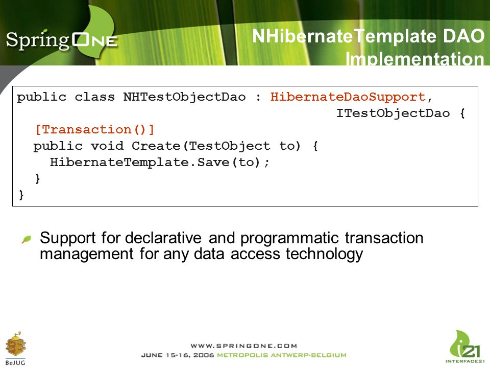 NHibernateTemplate DAO Implementation