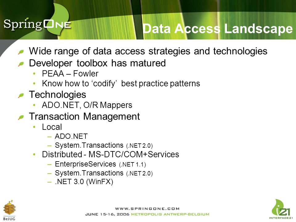 Data Access Landscape Wide range of data access strategies and technologies. Developer toolbox has matured.