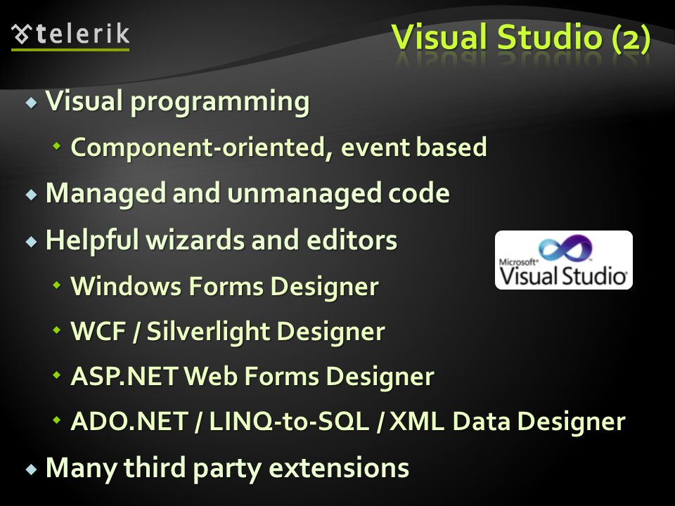 Visual Studio (2) Visual programming Managed and unmanaged code