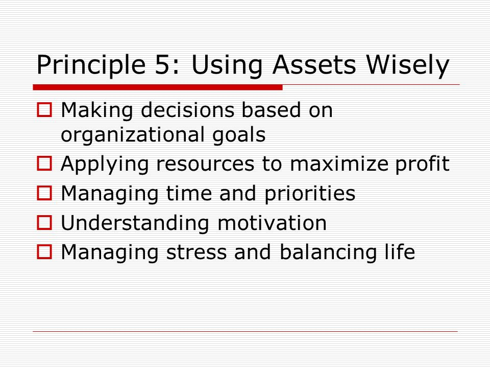 Principle 5: Using Assets Wisely