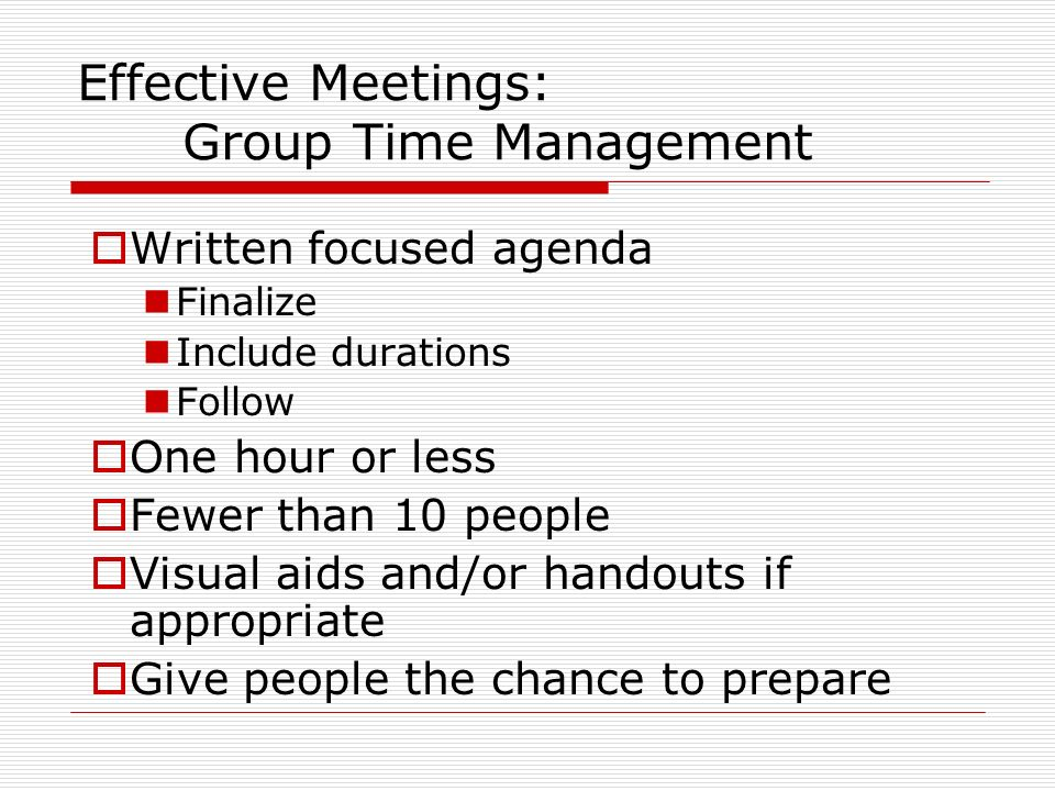 Effective Meetings: Group Time Management