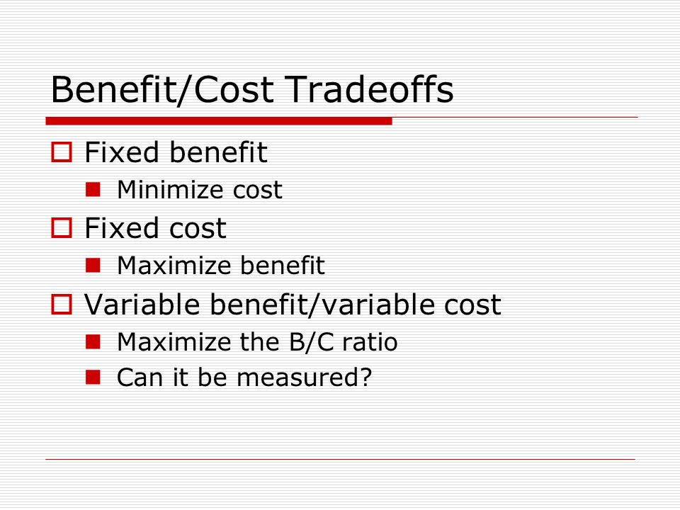 Benefit/Cost Tradeoffs