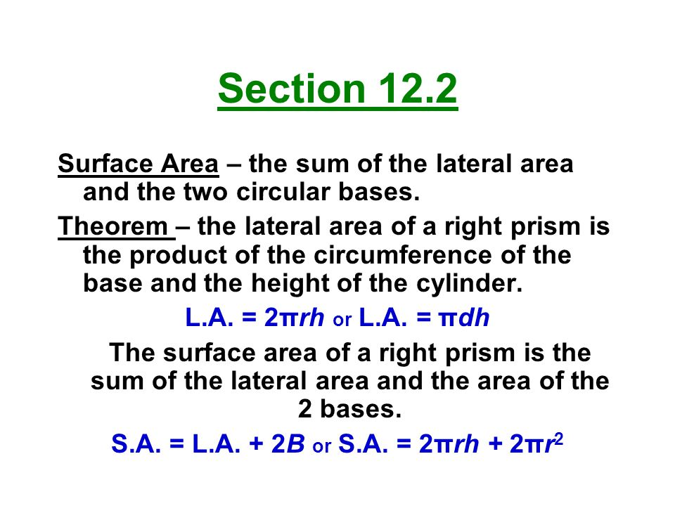 Section 12.2 Surface Area – the sum of the lateral area and the two circular bases.