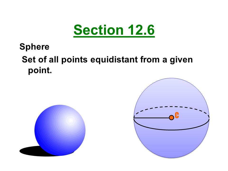 Section 12.6 Sphere Set of all points equidistant from a given point.