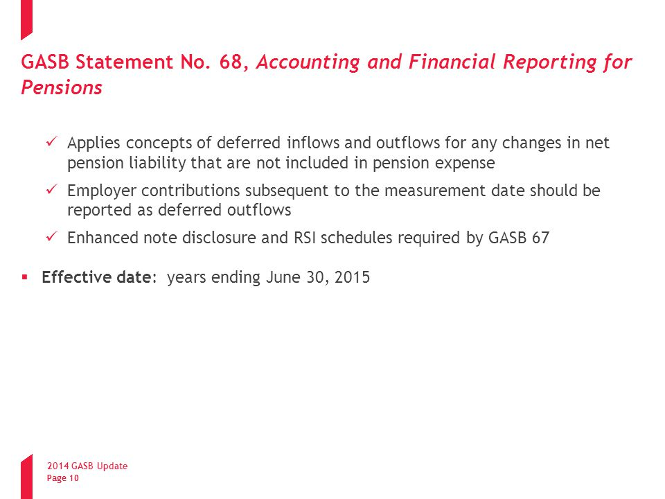 GASB Statement No. 68, Accounting and Financial Reporting for Pensions