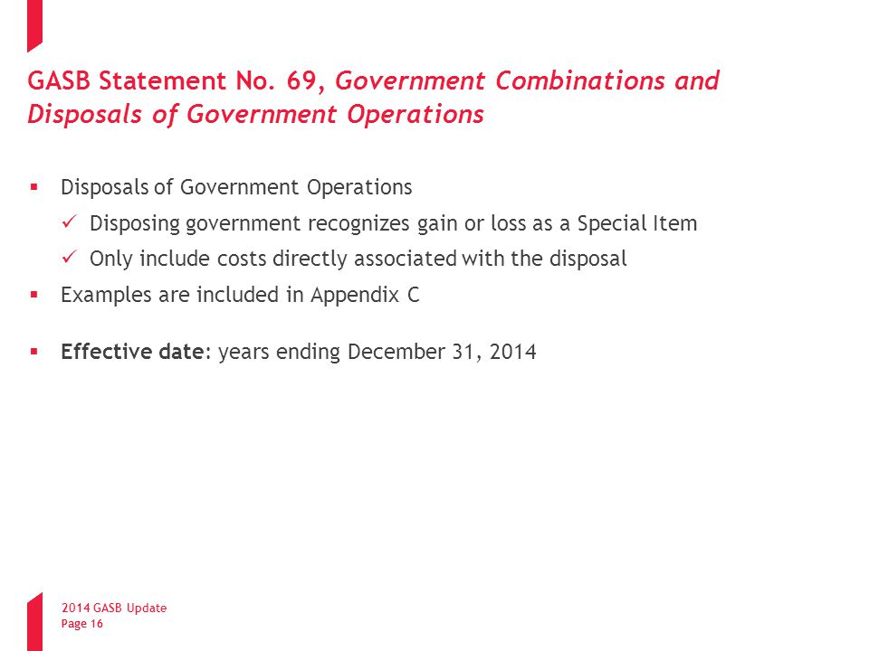 GASB Statement No. 69, Government Combinations and Disposals of Government Operations