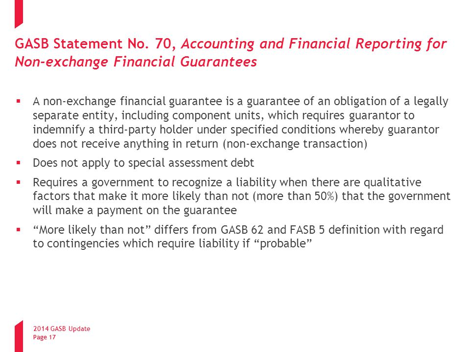 GASB Statement No. 70, Accounting and Financial Reporting for Non-exchange Financial Guarantees