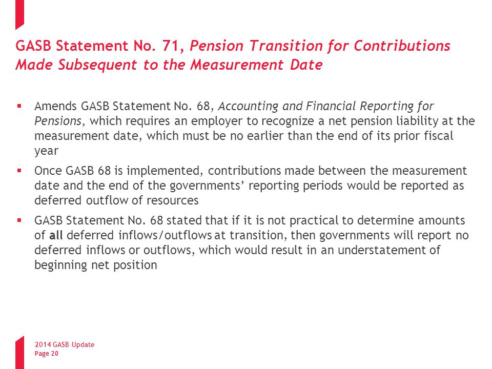GASB Statement No. 71, Pension Transition for Contributions Made Subsequent to the Measurement Date